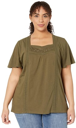 Lauren Ralph Lauren Plus Size Jersey Flutter-Sleeve Top (Dark Sage) Women's Clothing