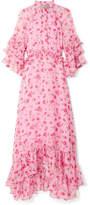Dodo Bar Or - Ruffled Crystal-embellished Floral-print Chiffon Midi Dress - Baby pink