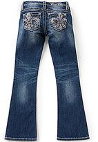 Miss Me Girls Big Girls 7-16 Embroidered Fleur-de-Lis Pocket Boot-Cut Jeans