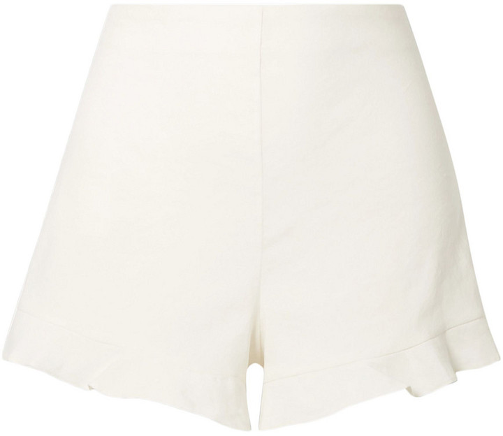 Alice + Olivia London Ruffled Linen-blend Shorts