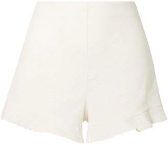 Alice + Olivia London Ruffled Linen-blend Shorts