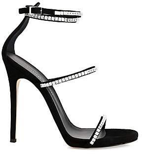 Giuseppe Zanotti Women's Kanda Ankle-Strap Crystal-Embellished Suede Sandals