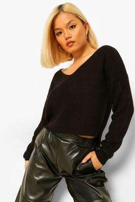 boohoo Petite Cropped Fisherman V-Neck Sweater