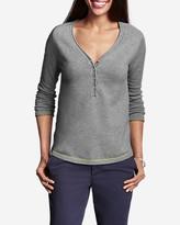 Eddie Bauer Women's Sweatshirt Sweater - Solid Henley
