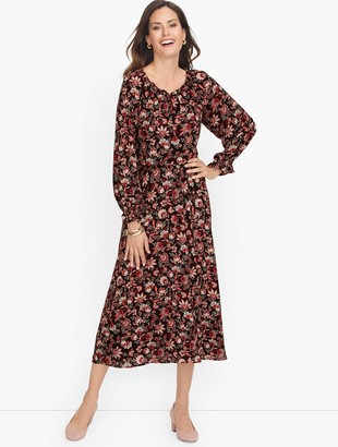 Talbots Bracelet Sleeve Autumn Garden Midi Dress