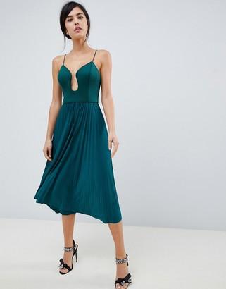 Asos Design DESIGN scuba u bar pleated midi dress