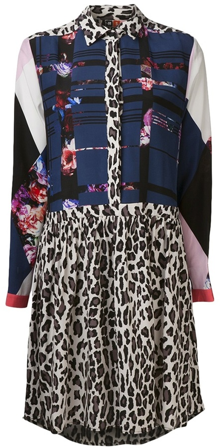 MSGM patchwork and leopard dress