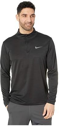 Nike Superset Top Long Sleeve 1/4 Zip (Black/Metallic Hematite) Men's Clothing