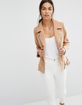 Missguided Short Faux Wool Biker Jacket
