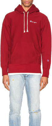 Champion Reverse Weave Small Script Hooded Sweatshirt in Scarlet | FWRD