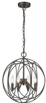Gracie Oaks Lecenta Farmhouse Ceiling 4-Light Globe Chandelier