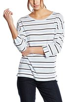 Basler Women's Striped 3/4 Sleeve Baby Blue Stripe Top Striped 3/4 Sleeve T-Shirt