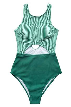 CUPSHE Women's Green Stripe Print Cut Out Design One Piece Swimsuit