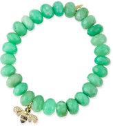 Sydney Evan Chrysoprase Beaded Bracelet with Diamond Bee Charm
