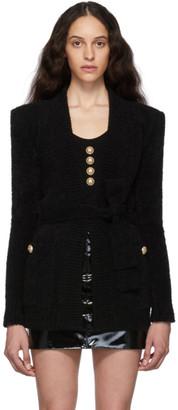 Balmain Black Mohair Belted Cardigan