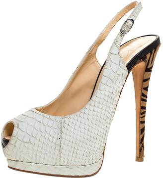 Giuseppe Zanotti White Python Embossed Leather Peep Toe Platform Slingback Sandals Size 37.5