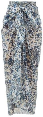 Marios Schwab Floral-print Cotton-voile Sarong - Blue Print