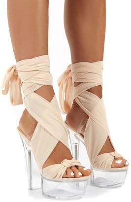 Public Desire Uk Secrets Platform Ribbon Tie Wrap Around Ankle Heels