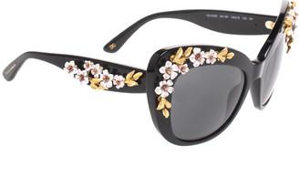 Dolce & Gabbana Black 4230 Floral Embellished Cat Eye Sunglasses