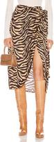 Andamane ANDAMANE Camilla Wrap Midi Skirt in Zebra Sand | FWRD