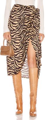 Andamane ANDAMANE Camilla Wrap Midi Skirt in Zebra Sand   FWRD