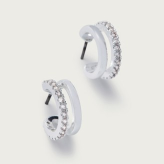 The White Company Cubic Zirconia Double Huggie Earrings, Silver, One Size