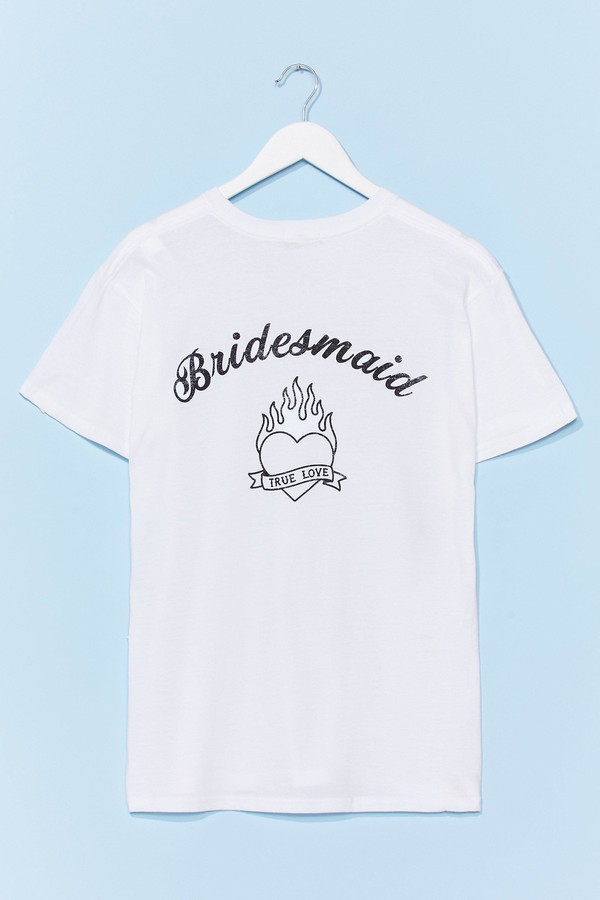 Nasty Gal Womens Bride Squad Bachelorette Graphic Tee - White - S