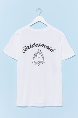 Nasty Gal Womens Bride Squad Bachelorette Graphic Tee - White - S