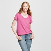 Mossimo Women's Relaxed V-Neck T-Shirt Pink Triblend XS