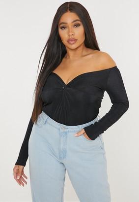 Missguided Plus Size Black Slinky Twist Bardot Bodysuit