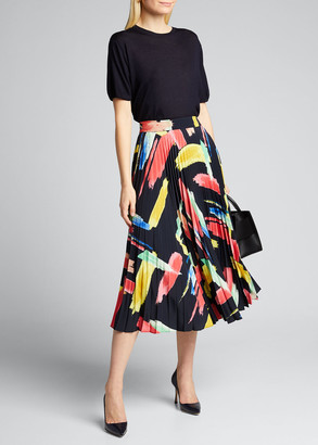 Milly Modern Brushstroke Pleated Twill Skirt