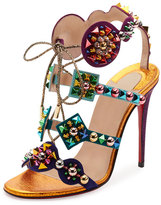 Christian Louboutin Kaleikita Spiked Lace-Up 100mm Red Sole Sandal, Version Gold