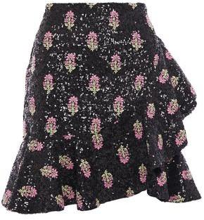 Giambattista Valli Ruffled Embroidered Sewuined Woven Mini Skirt