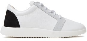 Giuseppe Zanotti Ricamo Singleg Suede-trimmed Pebbled-leather Sneakers