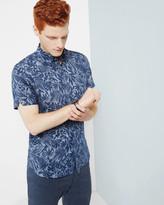 Floral linen-blend shirt