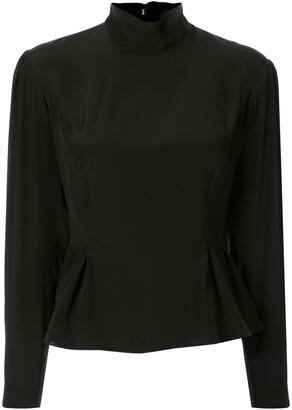 Giambattista Valli long-sleeved silk peplum blouse