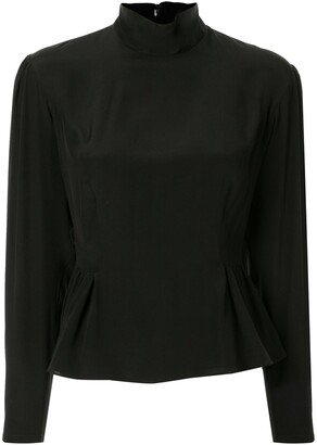 Giambattista Valli Long-Sleeved Silk Peplum Blouse