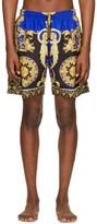 Versace Underwear Blue and Black Barocco Swim Shorts