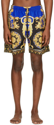 Versace Underwear Blue and Black Barocco Swim Shorts
