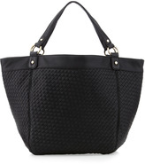 Neiman Marcus Basketwoven Faux Leather Tote, Black