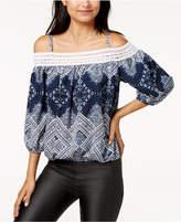 BCX Juniors' Crocheted Cold-Shoulder Top