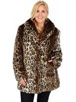 Plus Size Excelled Leopard Faux-Fur Coat