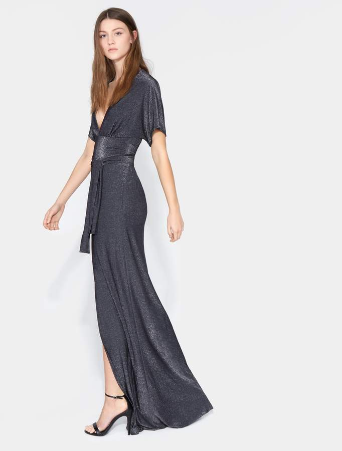 Halston Short Sleeve V Neck Metallic Jersey Kimono Gown