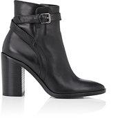 Barneys New York Women's Crisscross-Strap Leather Ankle Boots-BLACK