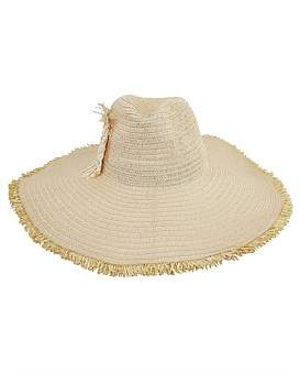 Bondi Beach Bag Company Wide Brim Fedora With Fringed Flower Wheel Trim