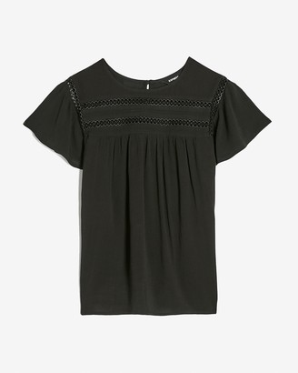 Express Flutter Sleeve Embroidered Top
