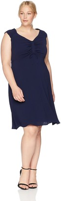 London Times Womens's Curve Stephanie Fit & Flare 20W Navy