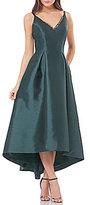 Carmen Marc Valvo Hi-Lo V-Neck Low Back Sleeveless Gown