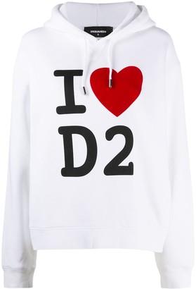DSQUARED2 I Heart D2 print hoodie