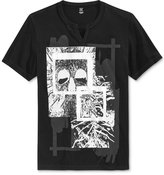 INC International Concepts Men's Collage Graphic-Print Split-Neck T-Shirt, Only at Macy's